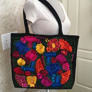 Handmade Embroidered black tote